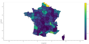 choropleth map of the french population, by department