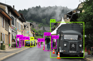 yolov3 object detection: cars, people, old truck